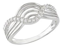 10k White Gold 0.5 Ct Tdw Diamond Crossover Wave Geometric Ring G-h I2-i3