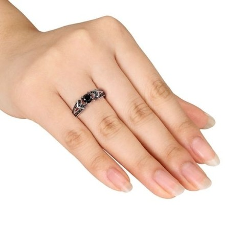Other Sterling Silver Black Diamond Accent Engagement Geometric Fashion Ring 1 Ct