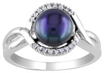 Sterling Silver 7-8 Mm Black Freshwater Cultured Pearl Accent Diamond Ring