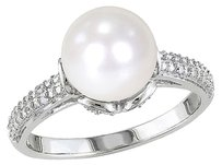 0.05 Ct Diamond 8 - 8.5 Mm White Freshwater Pearl Fashion Ring Silver Gh I2i3