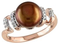 Other 0.05 Ct Diamond 9 - 9.5 Mm Chocolate Freshwater Pearl Ring Pink Silver Gh I2i3