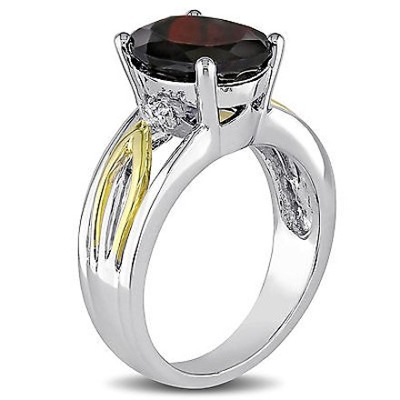 Other 10k Yellow Gold And Silver Diamond 3 12 Ct Garnet Geometric Crossover Ring