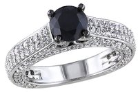 Sterling Silver 3 Ct Tgw Created White Sapphire Black Spinel Fashion Ring