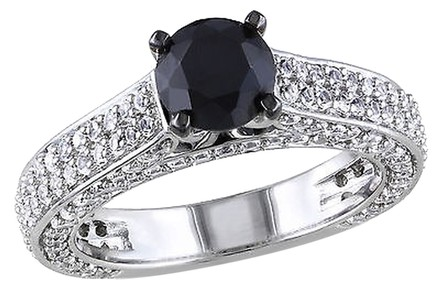 Other Sterling Silver 3 Ct Tgw Created White Sapphire Black Spinel Fashion Ring