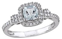 10k White Gold 15 Ct Diamond Tw And 12 Ct Tgw Aquamarine Fashion Ring Gh I1-i2