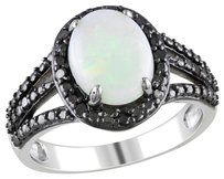 Sterling Silver 1 58 Ct Tgw Opal And Diamond Fashion Ring 0.1 Ct Cttw