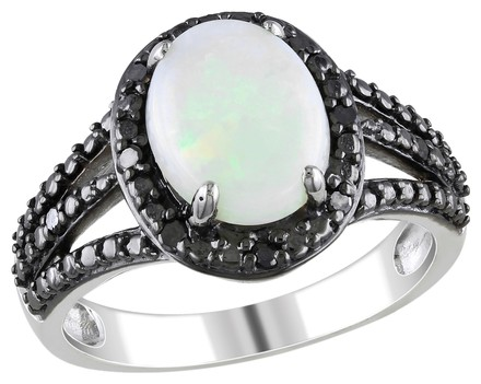 Other Sterling Silver 1 58 Ct Tgw Opal And Diamond Fashion Ring 0.1 Ct Cttw
