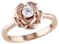 Amour Pink Silver 13 Ct Tgw White Sapphire Fashion Ring
