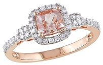10k Pink Gold 15 Ct Diamond Tw And 35 Ct Tgw Morganite Fashion Ring Gh I1-i2