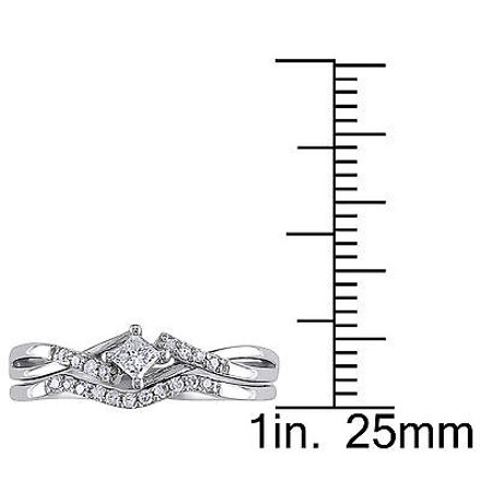 Other 10k White Gold 15 Ct Princess And Round Diamonds Tw Bridal Set Ring Gh I2-i3