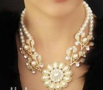 Fashion Exquisite Crystals & Faux Pearls Flower Pendant Necklace