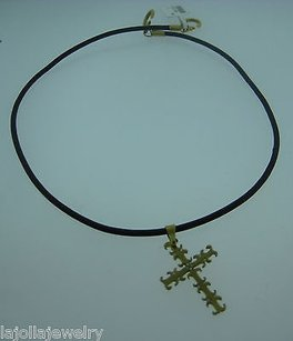 Other Fine Estate 20k Diamond Cross W 14k Clasp String Rope Necklace
