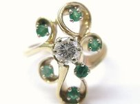 Fine Gem Green Emerald Diamond Jewelry Ring 0.86ct