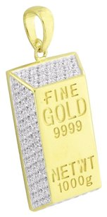 Fine Gold Bar Look Pendant 1000g Engrave Gold On 925 Silver Simulated Diamonds