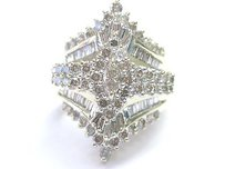Other Fine Round Baguette Marquise Diamond Cluster Yellow Gold Jewelry Ring 2.96ct