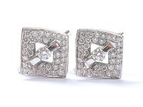 Fine Round Brilliant Diamond Tension Pave Setting Square Huggie Earrings 1.00c