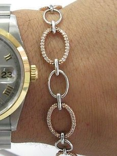 Other Fine Round Cut Diamond 2-tone Rose White Gold Bracelet 1.00ct 7