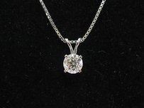 Fine Round Cut Diamond Solitaire Pendant Necklace .50ct H-si1