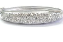 Fine Round Cut Diamond White Gold Bangle Bracelet 14kt 5.13ct