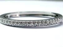 Other Fine Round Cut Diamond White Gold Bangle Bracelet 3.34ct