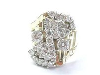 Fine Round Diamond Cluster Yellow Gold Wide Jewelry Ring 14kt 2.50ct