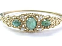 Fine Gem Emerald Diamond Yellow Gold Bangle Bracelet 5.35ct 14kt