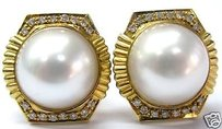 Fine Mabe Pearl Diamond Yellow Gold Earrings 14k 15.5mm