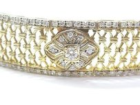 Fine Round Cut Diamond Wide Yellow Gold Bracelet 2.19ct 7.25