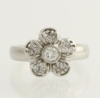 Other Floral Diamond Cocktail Ring - 14k White Gold Womens 12 Genuine .50ctw