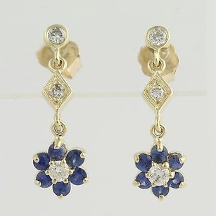 Other Floral Sapphire Diamond Drop Earrings 14k Yellow Gold Pierced Fine 1.36ctw