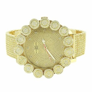 Flower Bezel Watch Khronos Real Diamonds Iced Out Rapper Wear Hip Hop Gold Tone