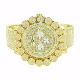 Flower Bezel Watch Mens Yellow Gold Tone Iced Out Hip Hop Genuine Diamonds 57 Mm
