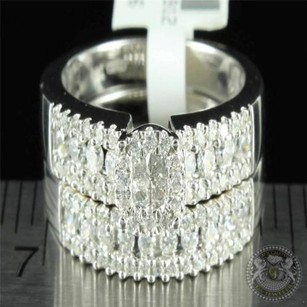 Flower Cluster Lab Diamond Micro Pave Simulated Diamond Gold Finish Rings Combo