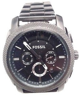 Fossil Machine Chronograph Black Dial Mens Watch Fs4662 Crown Is Stiff