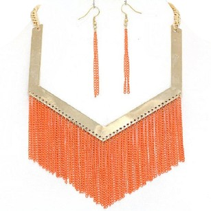 Fringe Orange and Gold Necklace Bib Collar Chain Statement Necklace Earring Set