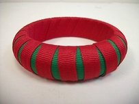 Other Gameday Bangles Red Green Peek-a-boo Grosgrain Ribbon Narrow Bracelet 34