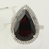 Other Garnet Cocktail Ring 925 Sterling Silver Diamond Accents Halo Womens