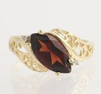 Garnet Diamond Cocktail Bypass Ring - 10k Yellow Gold January Genuine 2.02ctw