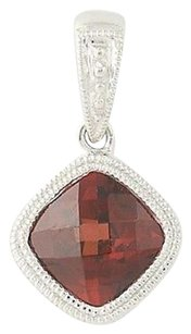 Other Garnet Pendant - 14k White Gold January Birthstone Solitaire 1.37ct