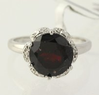 Garnet Ring Sterling Silver Diamond Accents Round Birthstone Womens