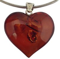 Genuine Amber Heart Pendant On Sterling Silver Chain