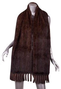 Genuine Mink Fur Classic Dark Brown Knitted Knit Fringe Wrap Scarf