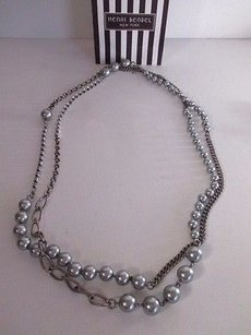 Gerard Yosca Henri Bendel Antique Silver Crystal Glass Pearl Necklace 245