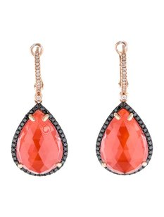 Other Glk 14k Rose Gold Quartz And 0.74ct Diamond Drop Earrings