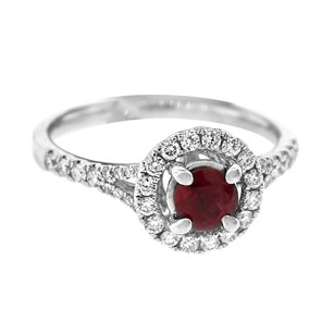 Glk 14k White Gold 0.45ct Diamond And Ruby Halo Ring