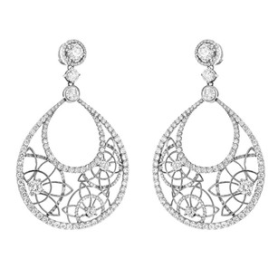 Other Glk 14k White Gold 11.40ct Diamond Seed Of Life Earrings