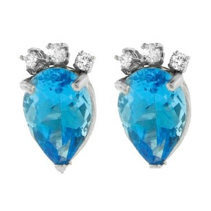 Other Glk 14k White Gold Diamond Blue Topaz Earrings