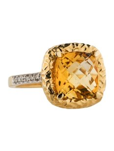 Other Glk 14k Yellow Gold 4.44ct Citrine And Diamond Ring