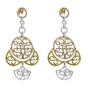 Other Glk 18k Tri Tone Gold 7.62ct Diamond Filigree Dangle Earrngs