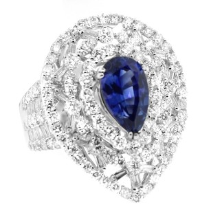 Glk 18k White Gold 2.05ct Pear Shaped Sapphire And Diamond Ring